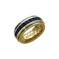 Обручальное кольцо из желтого золота c сапфиром, эмалью