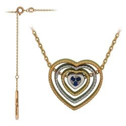 Колье в виде сердца из комбинированного золота c сапфиром