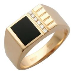 Мужское золотое кольцо c ониксом, бриллиантом