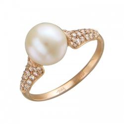 Золотое кольцо c белым жемчугом, бриллиантом