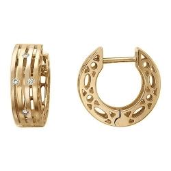 Золотые серьги конго c бриллиантом