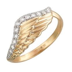 Золотое кольцо в виде крыла c бриллиантом