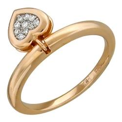 Золотое кольцо Сердце c бриллиантом