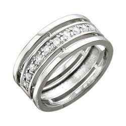 Обручальное кольцо из белого золота c бриллиантом