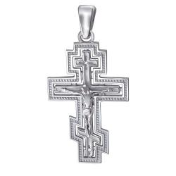 Мужской крестик из белого золота c бриллиантом
