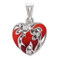 Подвеска в виде сердца из белого золота c эмалью, бриллиантом