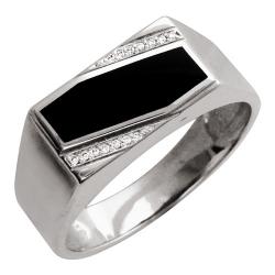 Мужское кольцо из белого золота c ониксом, бриллиантом