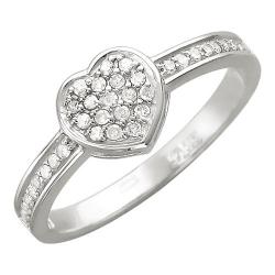 Женское кольцо Сердце из белого золота c бриллиантом