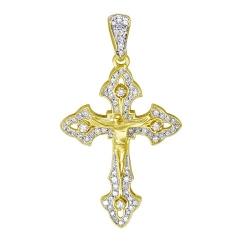 Мужской крестик из желтого золота c бриллиантом