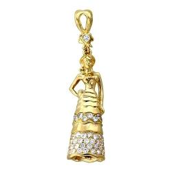 Детская подвеска Принцесса из желтого золота c бриллиантом
