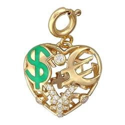Подвеска в виде сердца из желтого золота c эмалью, бриллиантом