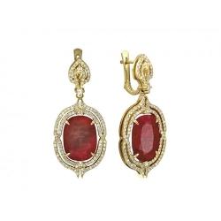 Серьги из желтого золота c рубином, бриллиантом