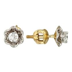 Серьги-гвоздики в виде цветов из желтого золота c бриллиантом