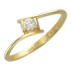 Женское кольцо из желтого золота c бриллиантом