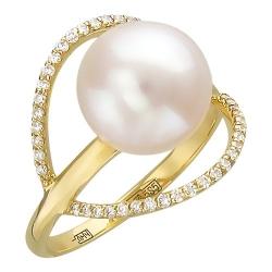Женское кольцо из желтого золота c белым жемчугом, бриллиантом