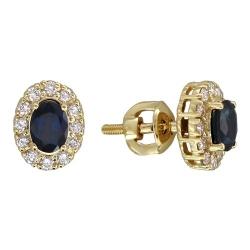 Серьги-гвоздики из желтого золота c сапфиром, бриллиантом