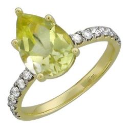 Женское кольцо из желтого золота c кварцем, бриллиантом