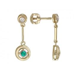 Серьги-гвоздики из желтого золота c изумрудом, бриллиантом