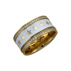 Обручальное кольцо из желтого золота c эмалью, бриллиантом