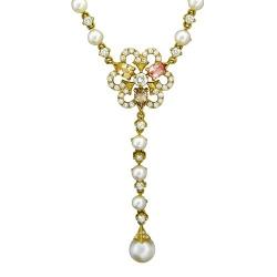 Колье в виде цветка из желтого золота c белым жемчугом, бриллиантом, сапфиром