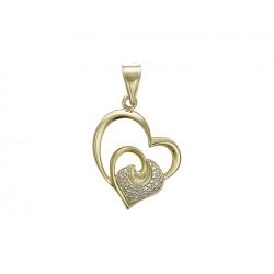 Подвеска в виде сердца из желтого золота c бриллиантом