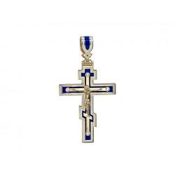 Мужской крестик из желтого золота c эмалью, бриллиантом