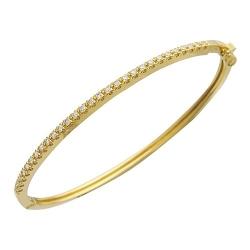 Жесткий Браслет из желтого золота c бриллиантом