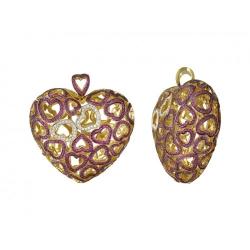 Подвеска в виде сердца из желтого золота c рубином, бриллиантом