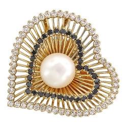 Подвеска в виде сердца из желтого золота c белым жемчугом, бриллиантом