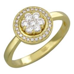 Женское кольцо Цветок из желтого золота c бриллиантом