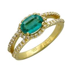 Женское кольцо из желтого золота c изумрудом, бриллиантом
