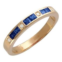 Женское кольцо из желтого золота c сапфиром, бриллиантом