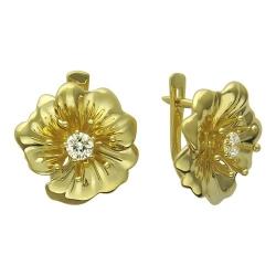 Серьги Цветы из желтого золота c бриллиантом