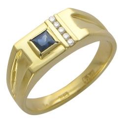 Мужское кольцо из желтого золота c сапфиром, бриллиантом