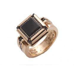 Мужское кольцо из желтого золота c ониксом, бриллиантом
