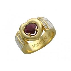 Женское кольцо из желтого золота c эмалью, бриллиантом, рубином