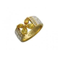 Женское кольцо из желтого золота c цветными камнями