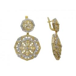 Серьги Ажур из желтого золота c бриллиантом