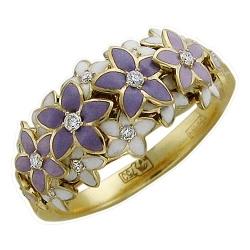 Женское кольцо в виде цветка из желтого золота c эмалью, бриллиантом