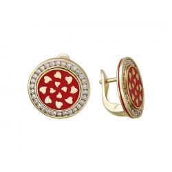 Серьги из желтого золота c эмалью, бриллиантом