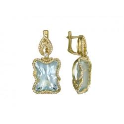 Серьги из желтого золота c аквамарином, бриллиантом