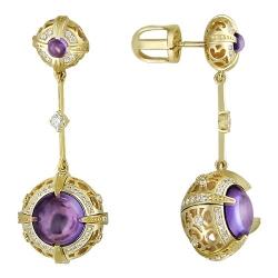 Серьги-гвоздики из желтого золота c аметистом, бриллиантом
