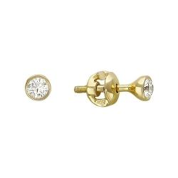 Одиночная серьга из желтого золота c бриллиантом