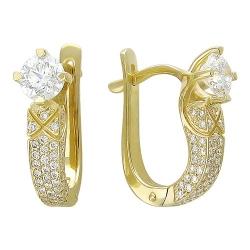Серьги из желтого золота c бриллиантом