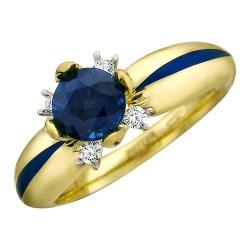 Женское кольцо из желтого золота c сапфиром, эмалью и бриллиантом