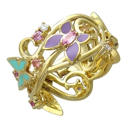 Женское кольцо Бабочка из желтого золота c цветными камнями