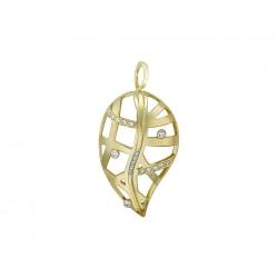 Подвеска Лист из желтого золота c бриллиантом