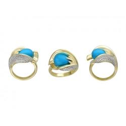 Женское кольцо из желтого золота c бирюзой, бриллиантом