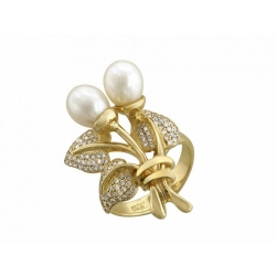 Женское кольцо Ландыши из желтого золота c белым жемчугом, бриллиантом