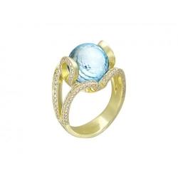 Женское кольцо из желтого золота c топазом, бриллиантом